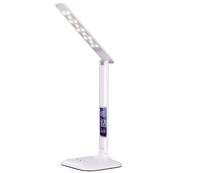 LAMPADA DA TAVOLO 14 LED DIMMER TOUCH CON OROLOGIO/SVEGLIA/CALENDARIO
