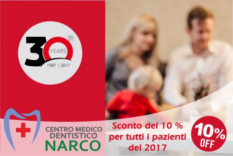 Da 30 anni con voi ! Studio dentistico NARCO Imperia Albenga sconto del 10 % per tutto il 2017