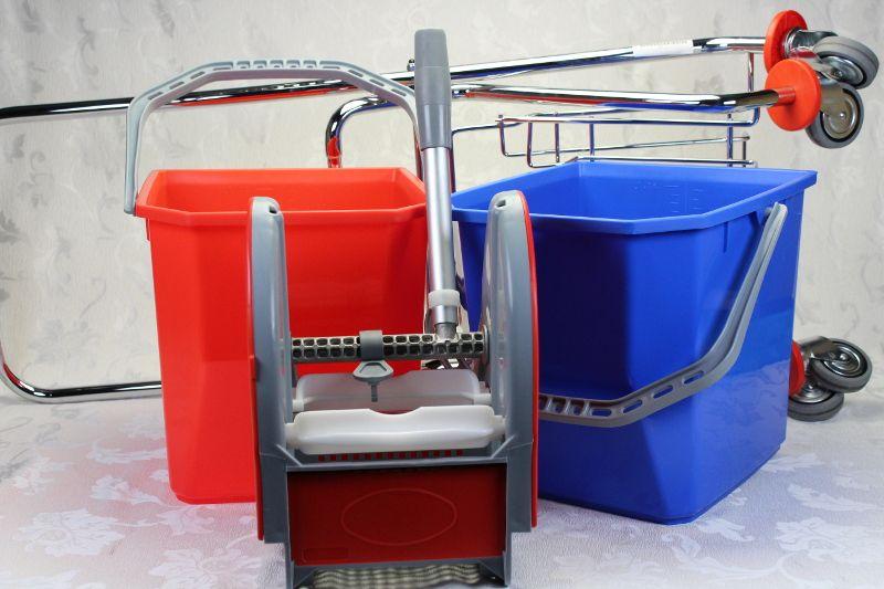 vendita offerta carrello per pulizie cromato completo di 2 secchi