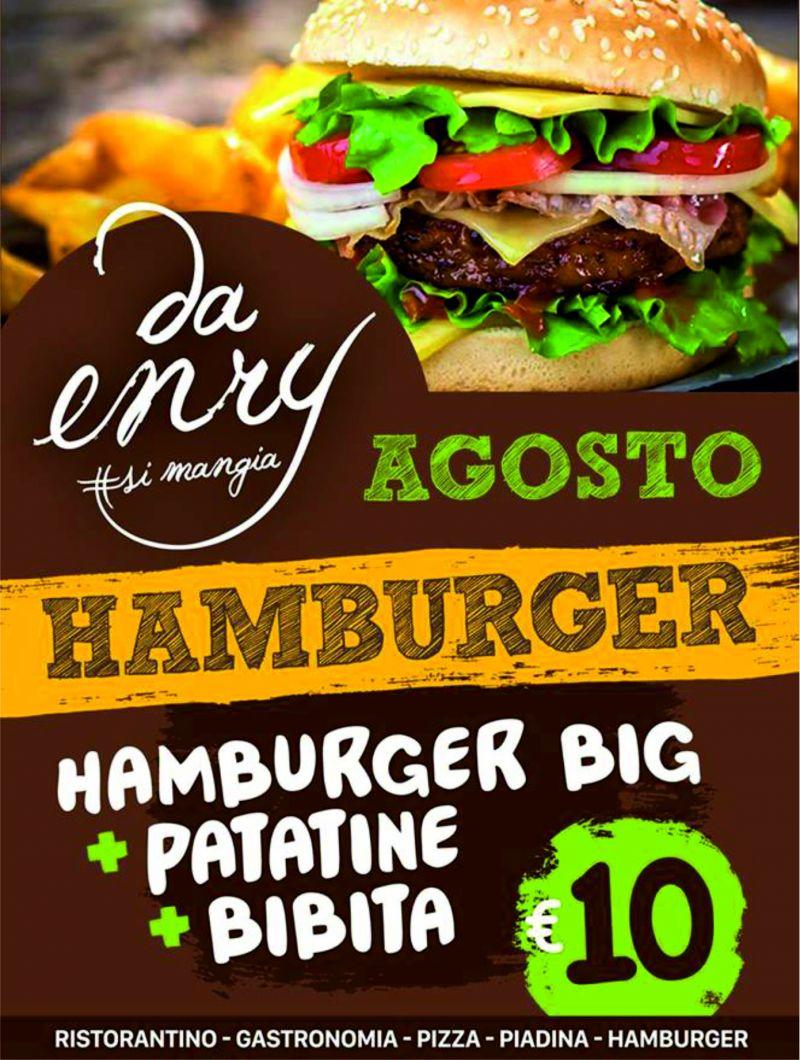 Offerta di agosto - Promozione hamburger - Da Enry
