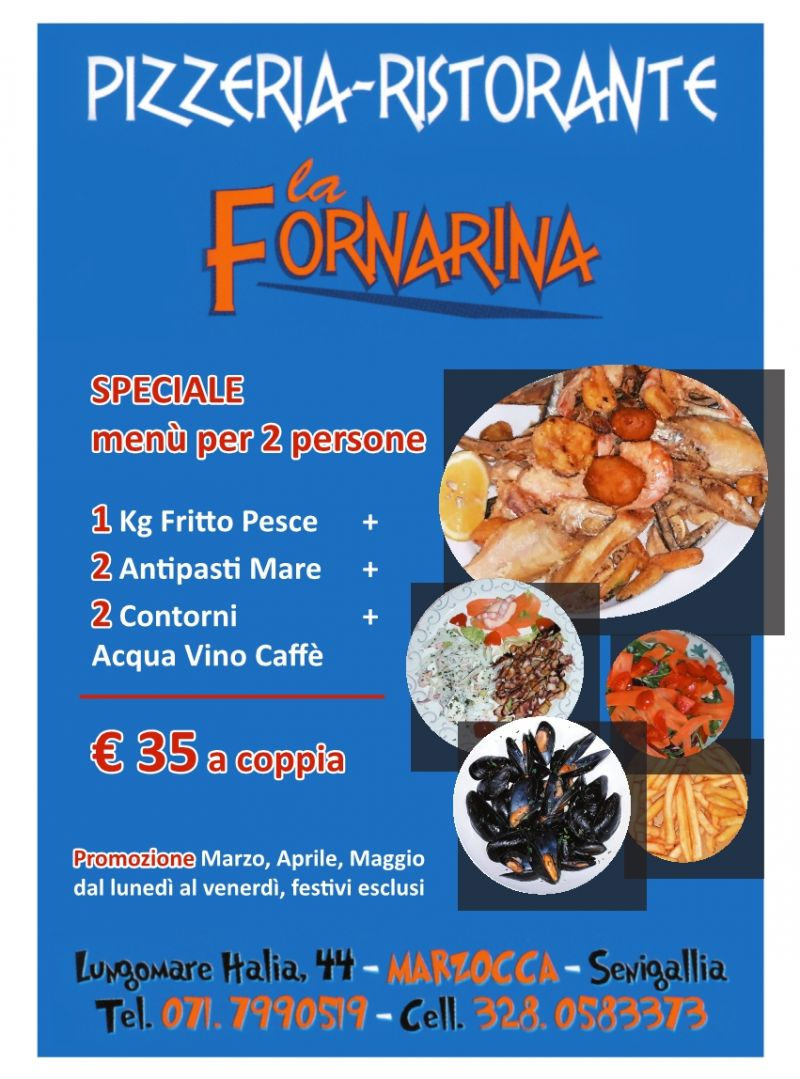 Speciale Menù Pesce per due persone a soli 35 Euro (a coppia)