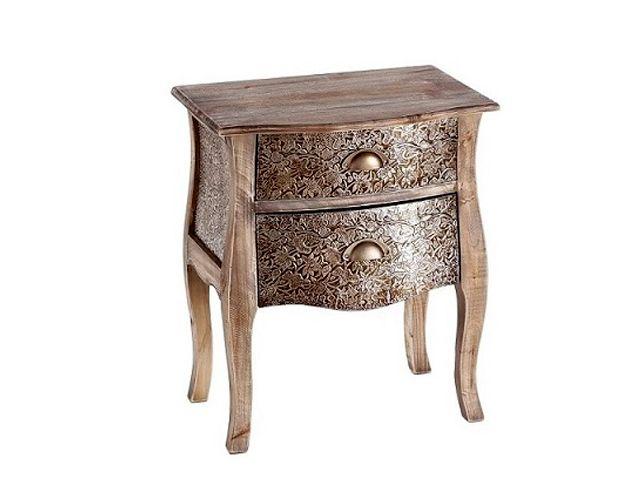 Offerta - Tavolino 2 cassetti argento-marrone