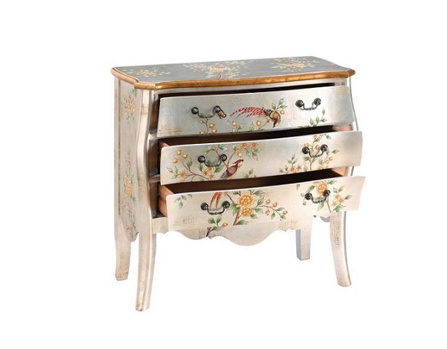 Offerta - Comò farfalle argento in legno 95X46X90