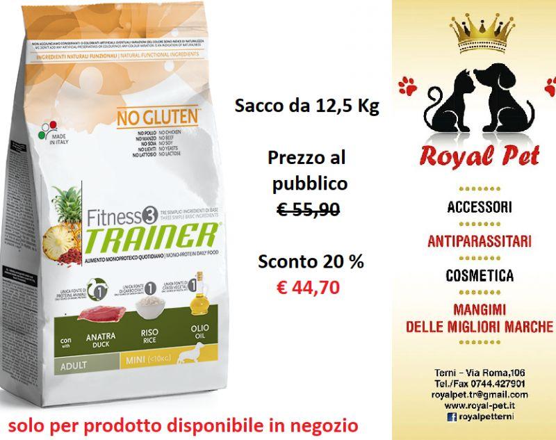 Offerta Promozione FITNESS 3 TRAINER ADULT AGNELLO E RISO MEDIUM E MAXI 12,5 KG