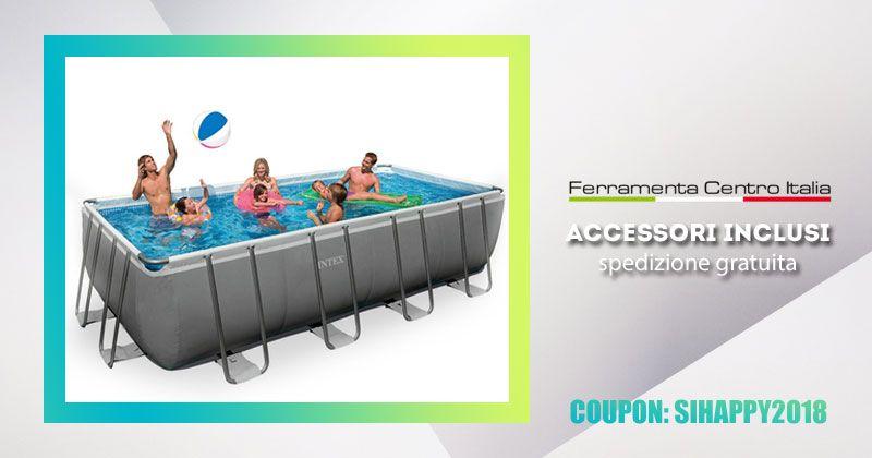 offerta piscina fuori terra rettangolare - promozione piscina esterna giardino intex