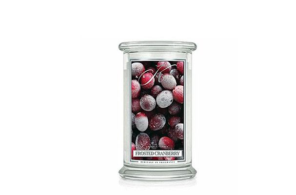Offerta-CANDELA FROSTED CRANBERRY IN GIARA GRANDE