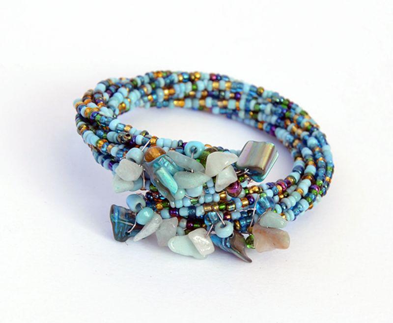 Offerta - Bracciale a spirale con perline e pietre
