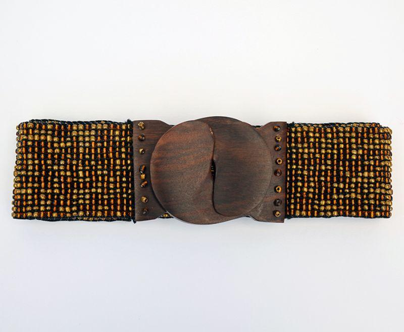 Offerta - Cintura elastica perline gancio in legno