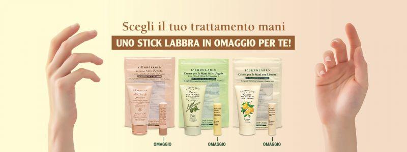 Promozione crema mani + stick labbra omaggio - offerta mani labbra Erbolandia Vicenza