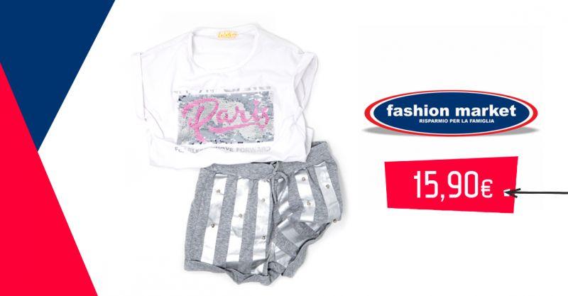 offerta completo bimba cotone estivo - occasione maglia pantaloncini cotone bambina
