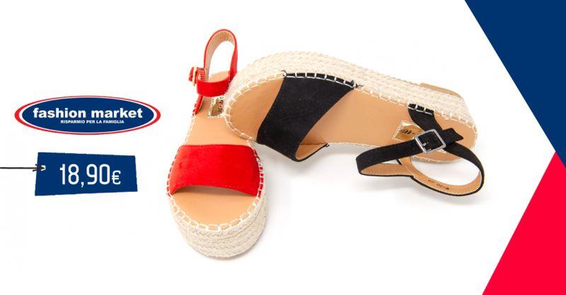 offerta Fashion Market Scarpe estive donna - occasione Sandalo donna con zeppa calzature donna