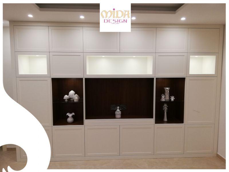 offerta parete attrezzata su misura vani a giorno anta bianco opaco noce bari mida design