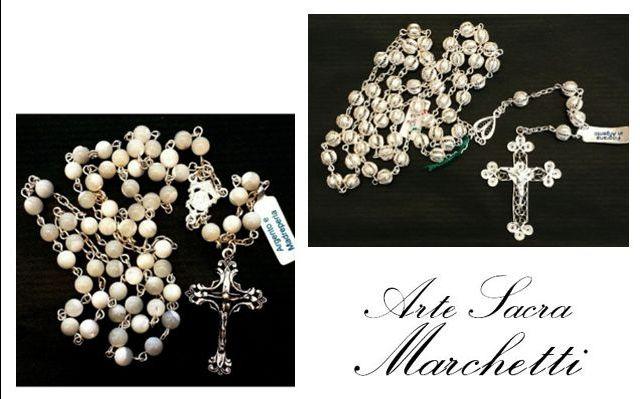 Offerta vendita online rosario in filigrana d'argento-Occasione rosario con grani in madreperla