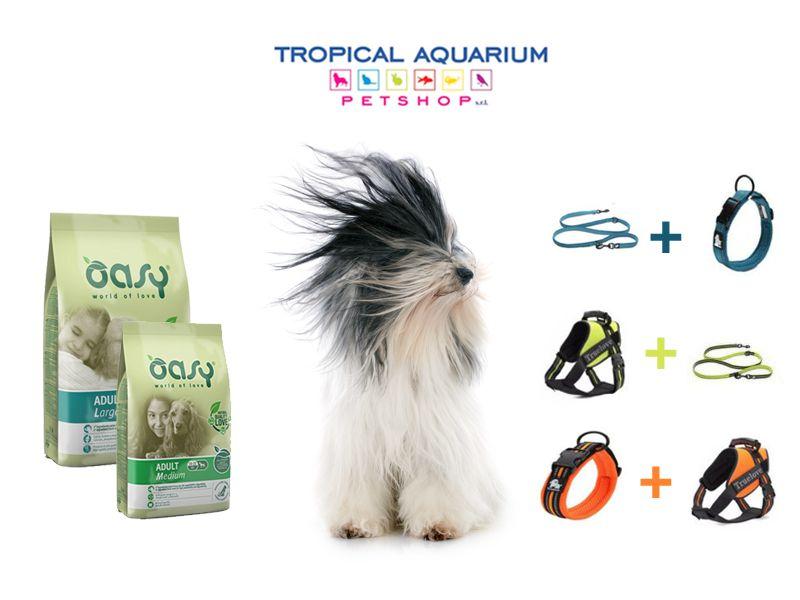 offerta crocchette naturali oasy - promozione pettorina collare guinzaglio true love