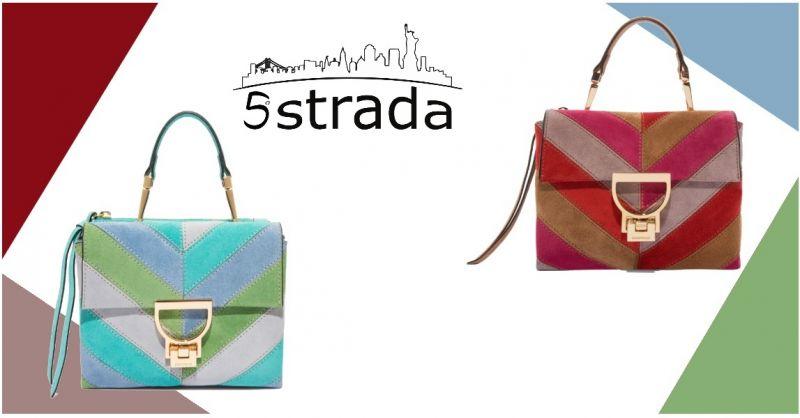 offerta Minibag Coccinelle arlettis in camoscio multicolor rosso turchese- 5 strada shop