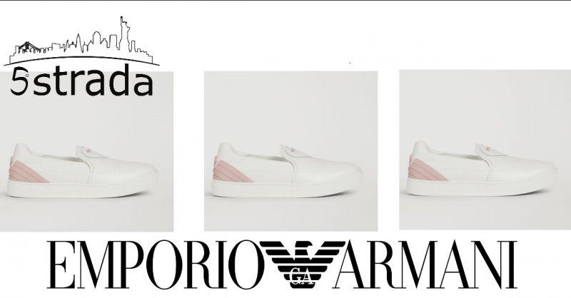 promozione Slip on donna emporio Armani pelle bianca rosa scarpa donna sneakers- 5a strada shop
