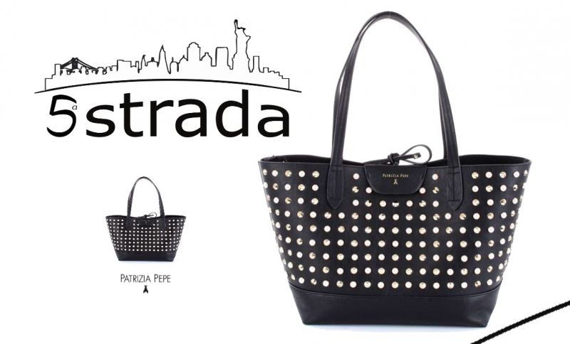 offerta borsa shopping patrizia pepe nera con borchie inserti in perle borchie- 5a strada shop