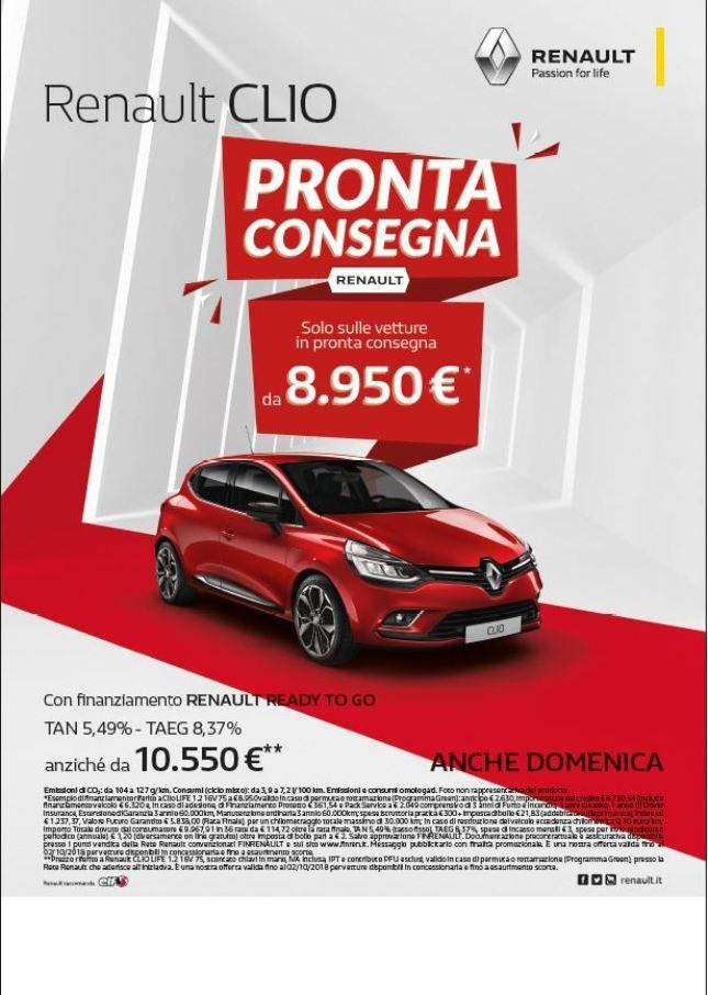 OFFERTA PROMOZIONALE PRONTA CONSEGNA RENAULT CLIO CON FINANZIAMENTO READY TO GO