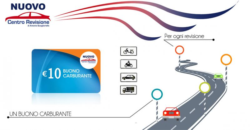 Offerta buono carburante 10 euro per tutti i veicoli a Salerno - Nuovo Centro Revisioni