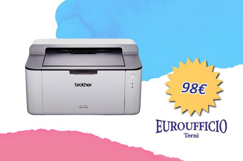offerta stampate laser BROTHER HL 1110 - promozione stampante laser ufficio - euroufficio