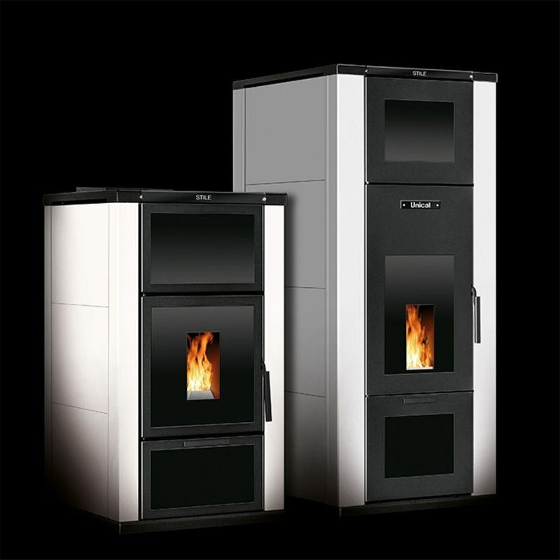 termostufa a pellet unical modello stile 16 kw bordeaux