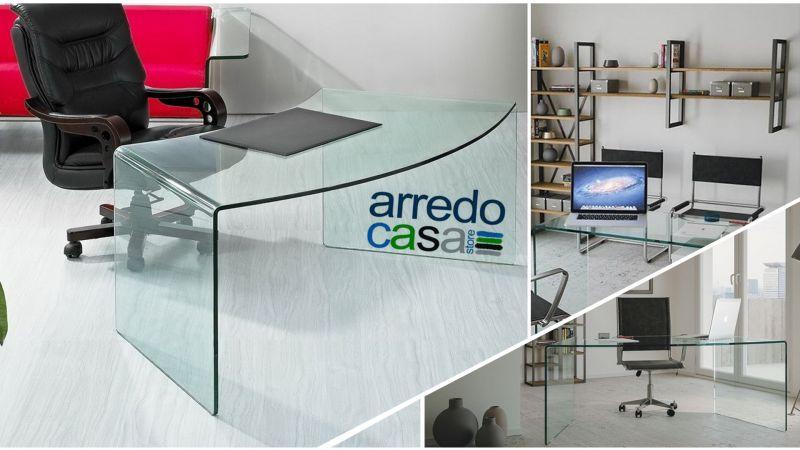 Offerta vendita scrivania in vetro stile moderno - Occasione scrivanie vetro studio personale