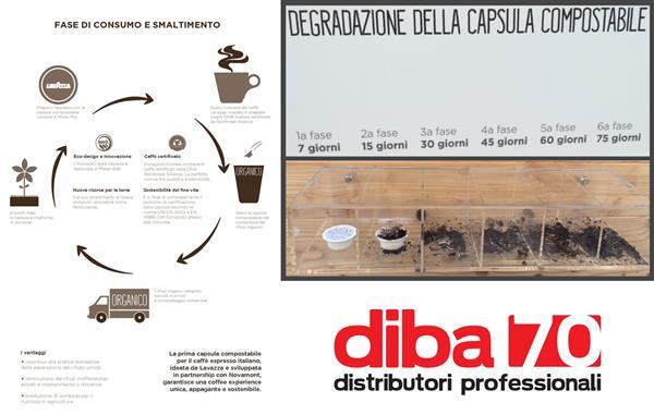 Ecomondo: premiata la capsula caffè compostabile di Lavazza e Novamont - Diba 70 distributori professionali, rassegna stampa