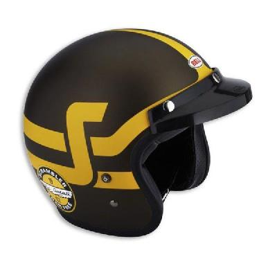 casco jet short track scrambler ducati marrone giallo by bell