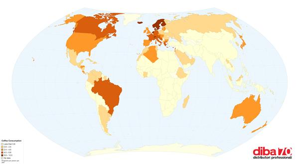 La mappa mondiale di chi consuma più caffè - Diba 70 distributori professionali, rassegna stampa