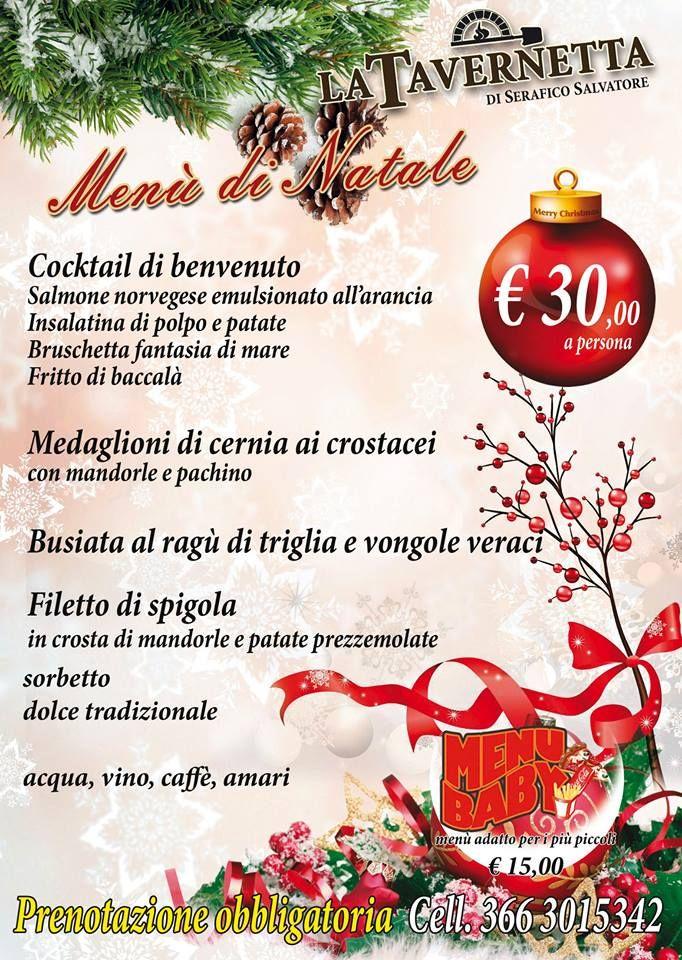 Menu Di Natale A Pranzo.Menu Pranzo Di Natale Ristorante Pizzeria La Tavernetta A Sihappy