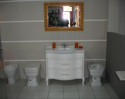 mobile da bagno eban legno massello bianco specchio