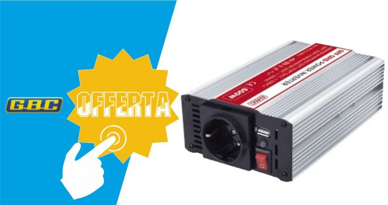 GBC ELETTRONICA - OCCASIONE INVERTER SOFT START 12VCC 600W USB CONVERTIRE CORRENTE