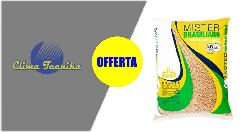 Clima Tecnika - offerta pellet Mister Brasiliano di puro legno di conifera sacco da 15 kg