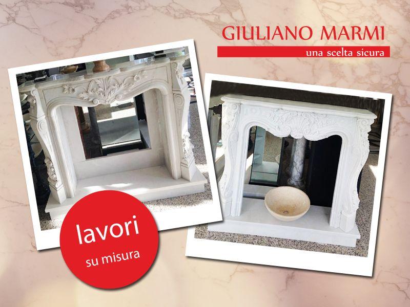 offerta camini in marmo su misura promozione lavorazione marmo giuliano marmi