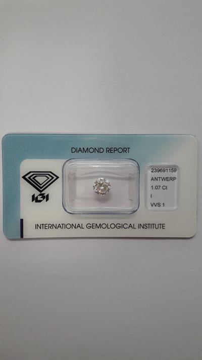 diamante naturale brillante rotondo ct 1 07 certificato igi di anversa