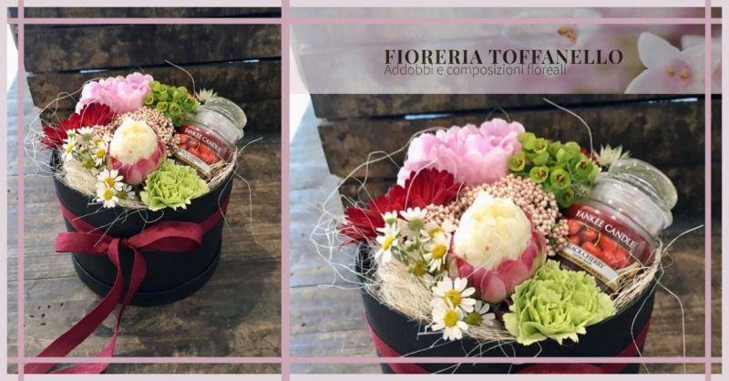 FIORERIA TOFFANELLO - Idee regalo con fiori recisi veri e CON CANDELA PROFUMATA YANKEE CANDLE