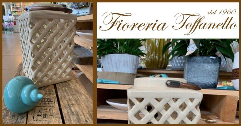 FIORERIA TOFFANELLO - Occasione vendita online LANTERNA SHABBY in ceramica motivi orientali