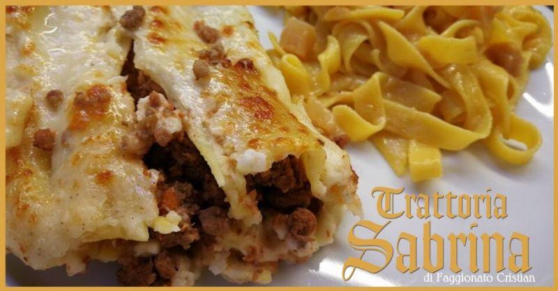 Trattoria Sabrina Villaga - Offerta specialità cannelloni di agnello fettuccine agli asparagi