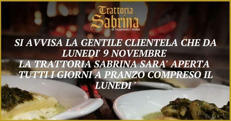 TRATTORIA SABRINA  - Occasione trattoria aperta di lunedì a pranzo zona Villaga Vicenza