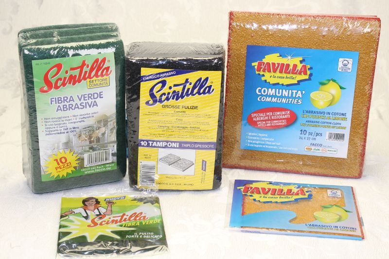 vendita offerta set fibra verde abrasiva tamponi per grosse pulizie panno abrasivo in cotone
