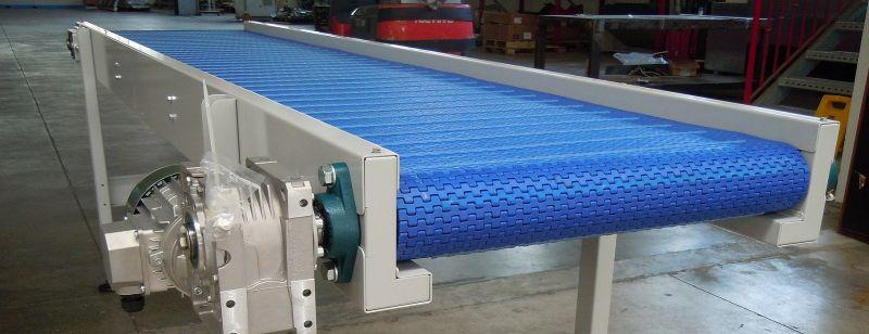 Realizzazione nastri trasportatori con tappeti modulari, in gomma, poliuretano e rete metallica