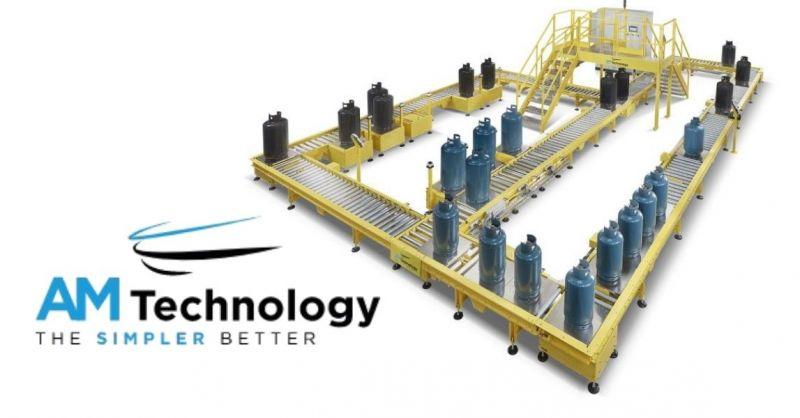 AM TECHNOLOGY - Produzione sistema movimentazione a rulliere per riempimento di bombole di gas