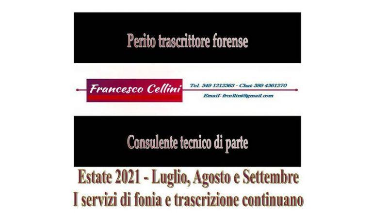 PERITO TRASCRITTORE FORENSE - FRANCESCO CELLINI
