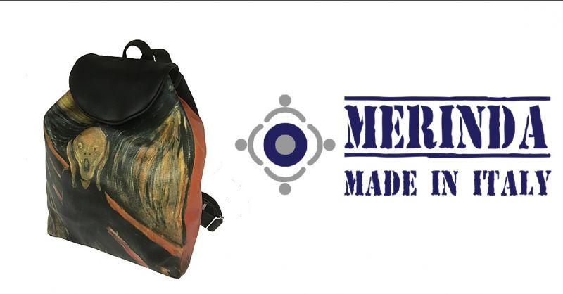 MERINDA - Anlass Online-Schultasche Kunstrucksack Frau Munch der Schrei made in Italy