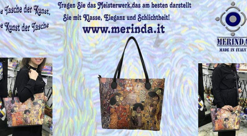 MERINDA - Angebot Produktion Verkauf Kunst Taschen Kunstrucksäcke made in Italy Klimt den Kuss