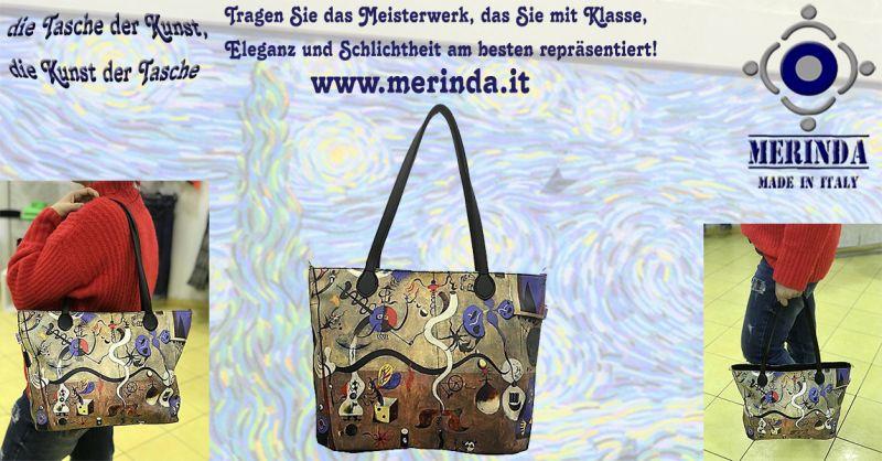 MERINDA  Angebot Produktion Verkauf Kunst Taschen Kunstdrucke made in Italy Klimt Frida Mirò