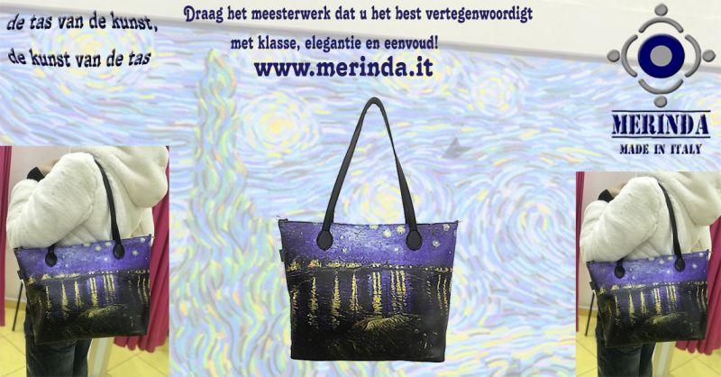 MERINDA - productie sale kunst tassen kunstrugzakken gemaakt in Italy Van Gogh Klimt Frida