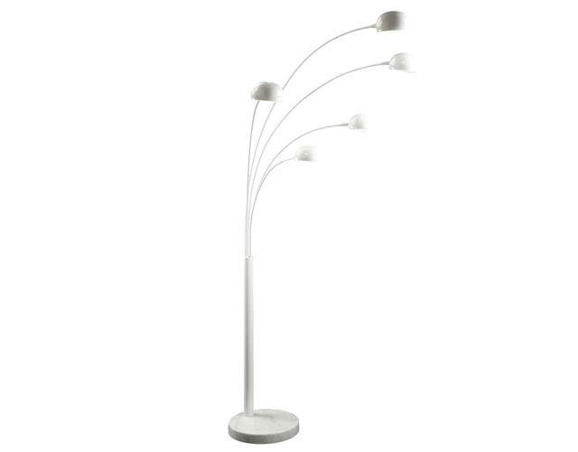 Offerta - Lampada terra acciaio 5 braccia bianca