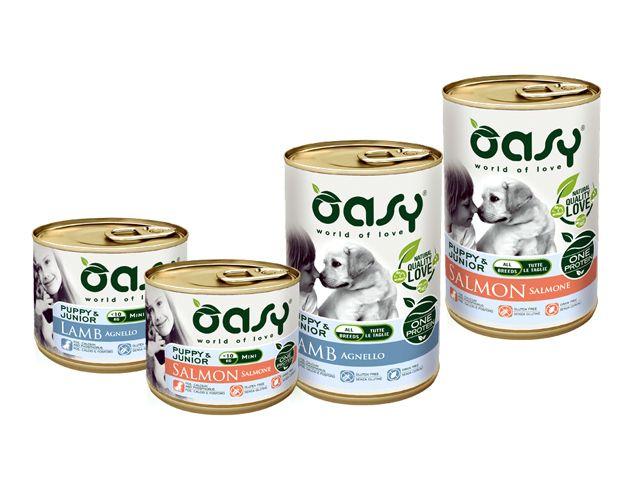 Cibo umido per cani Oasy Puppy Salmone e Agnello