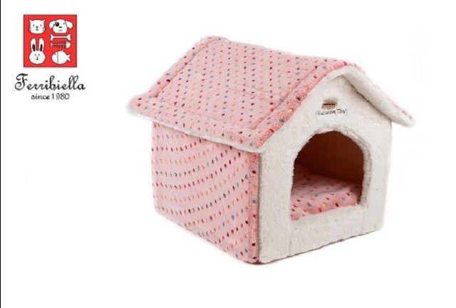 Promozione cuccia rosa a forma di casetta per cani Ferribiella